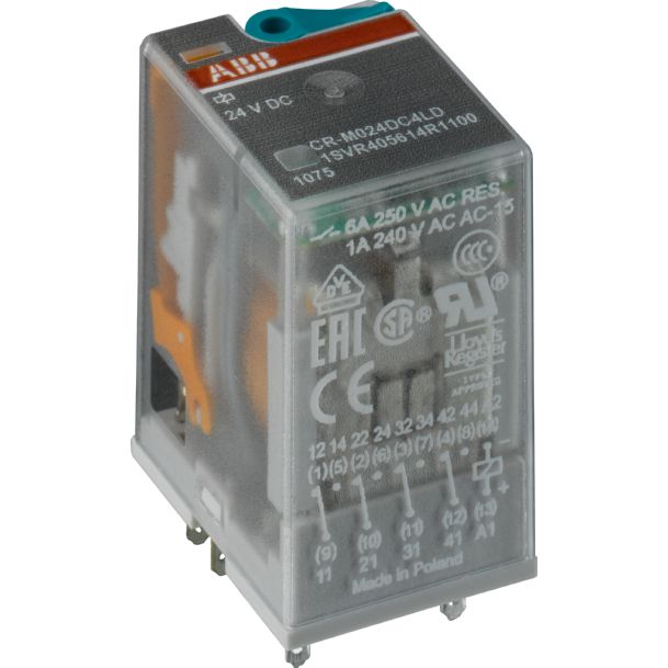 Pluggable Interface Relays A1-A2=24Vdc, 2 C/O 250V/12A product photo
